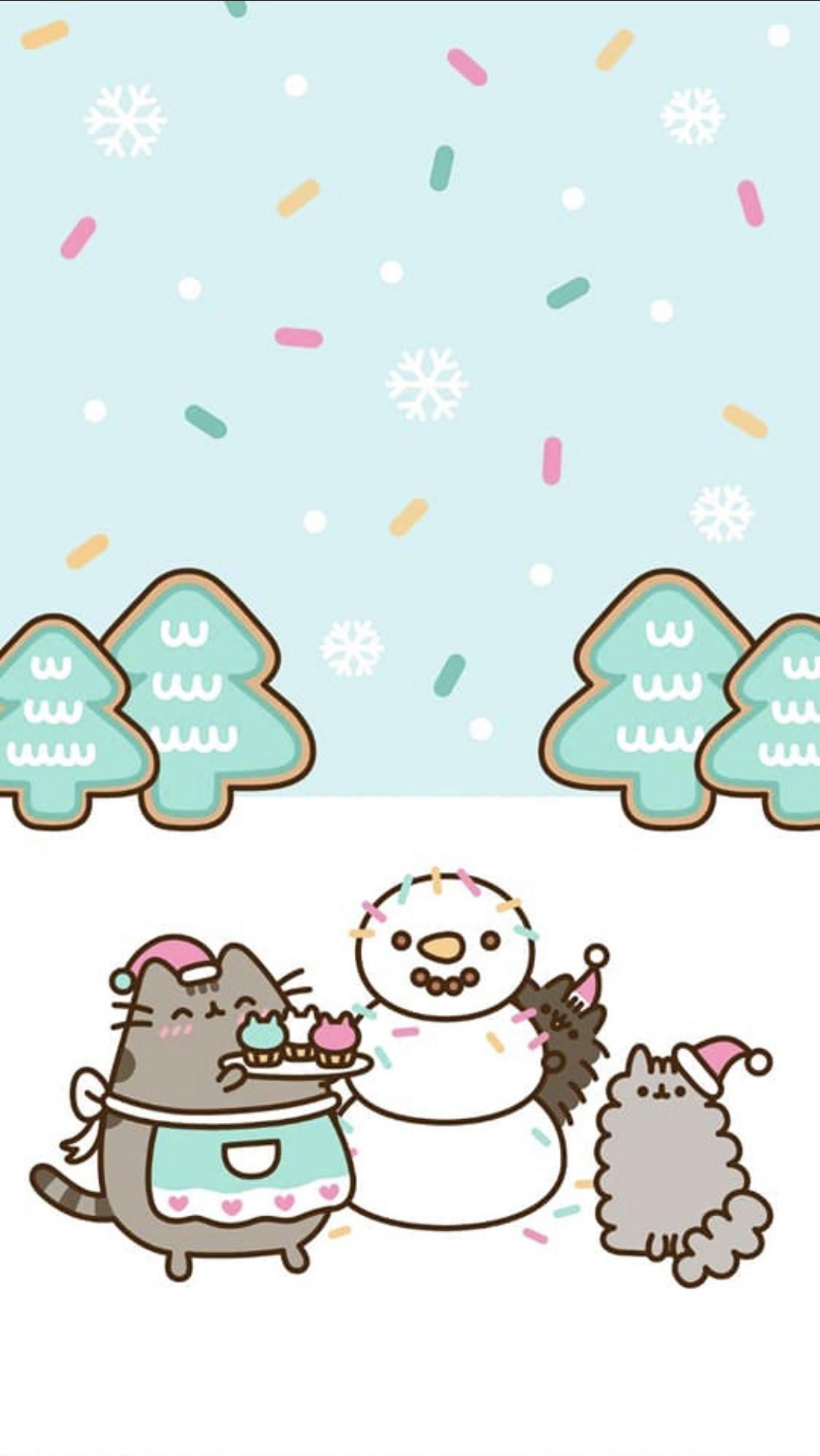 pusheen winter wallpaper !! (With images) Wallpaper