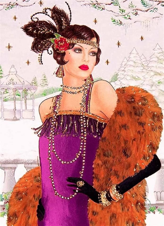 Flapper In Purple W Fur Art Deco Posters Art Deco Illustration Art Deco Fashion