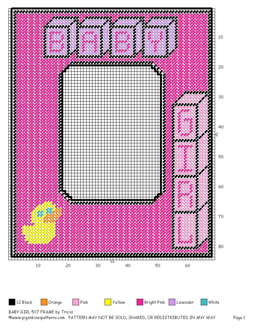 PICTURE FRAME BABY GIRL (5X7) | Plastic canvas - for mom | Pinterest ...