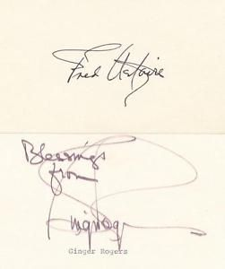 Fred Astaire Ginger Rogers Signed Pair Of Cards With Coa Psa Jsa Guarantee Fred Astaire Ginger Rogers Jsa