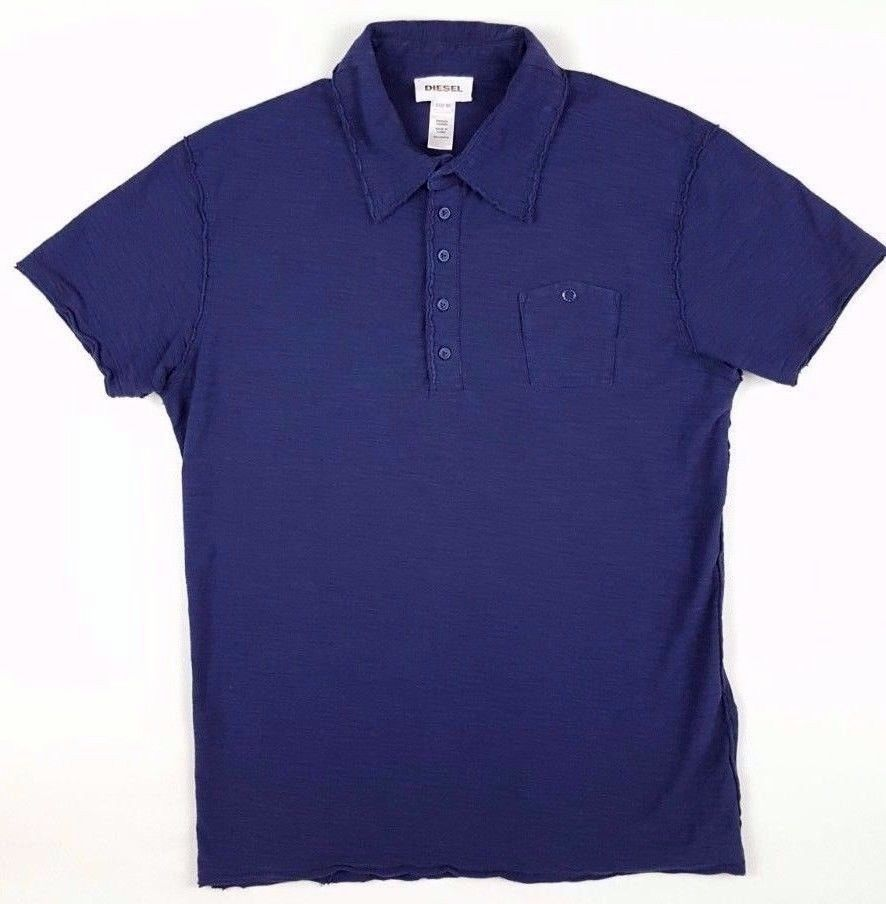 DIESEL Mens POLO Shirt BLUE Sz XL Navy COTTON Man SIZE Slim LONG Placket  BUTTONS