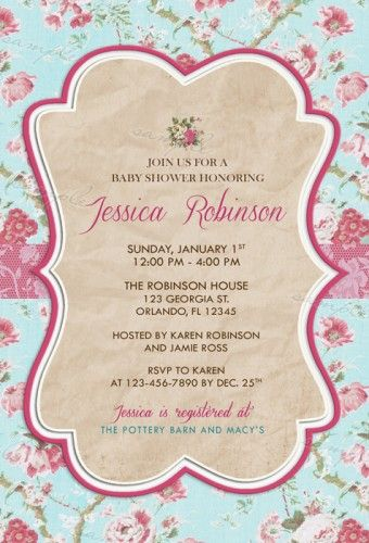 Vintage Floral Rustic Bridal Baby Shower Party Invitations - printable baby shower invite