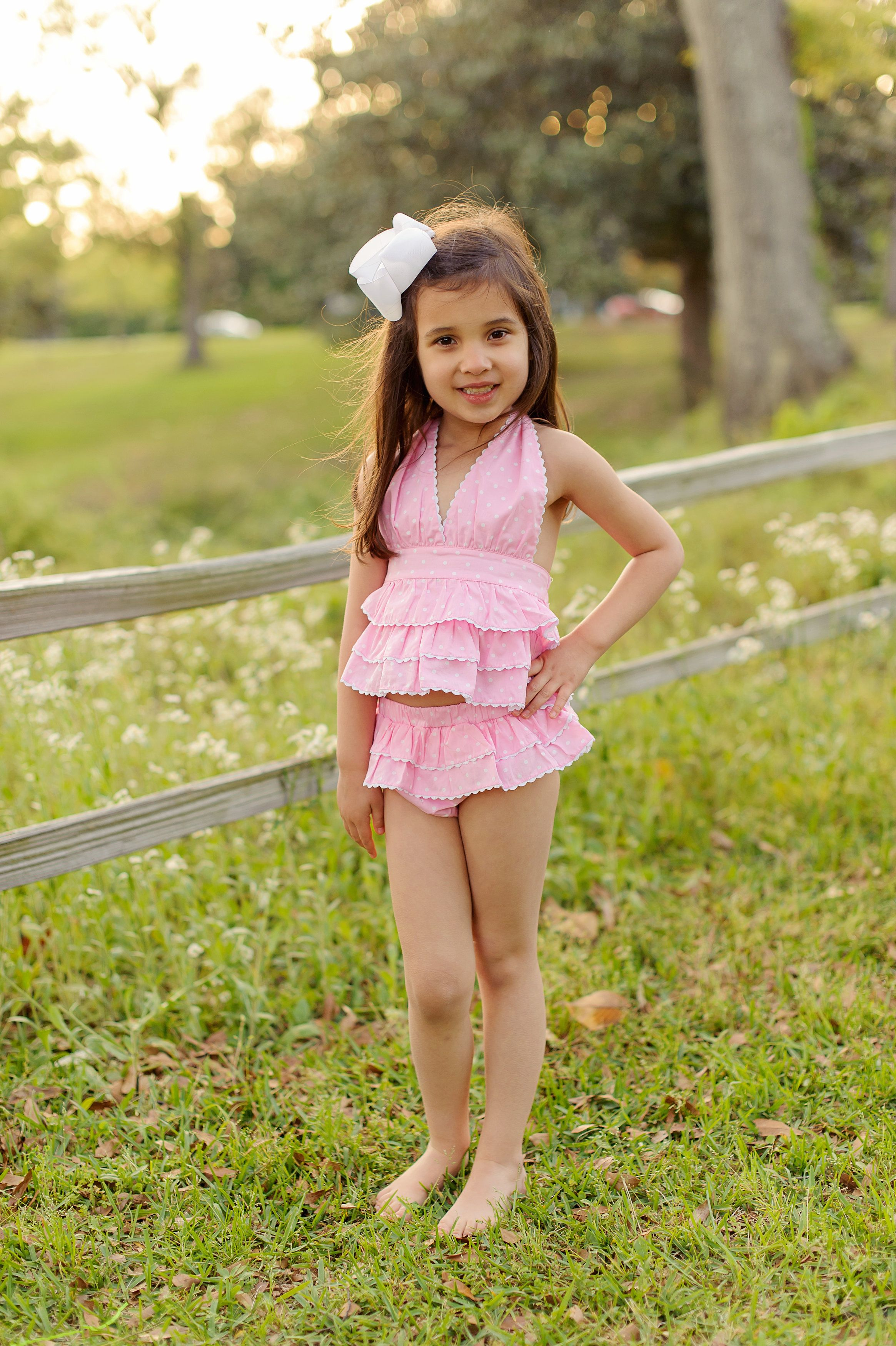 bff41cd6a41 Pink Lemonade Pink and white polka do ruffle swimsuit #zulily ...