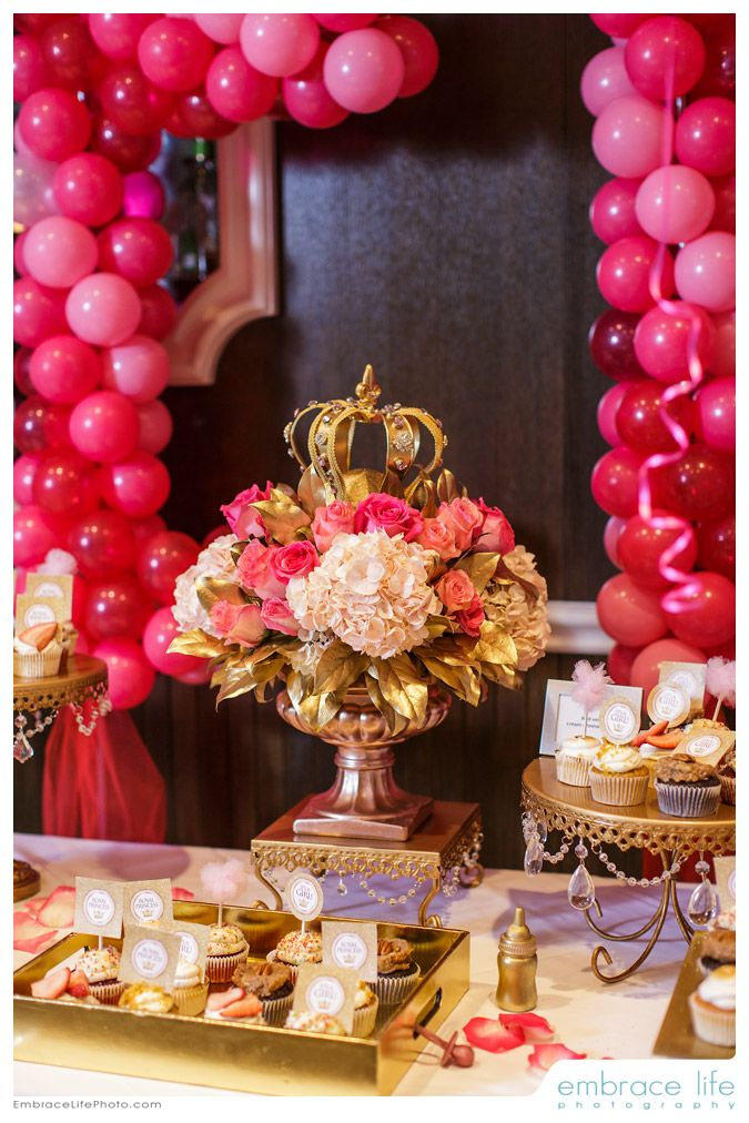 Royal princess inspired floral centerpiece with gold crown