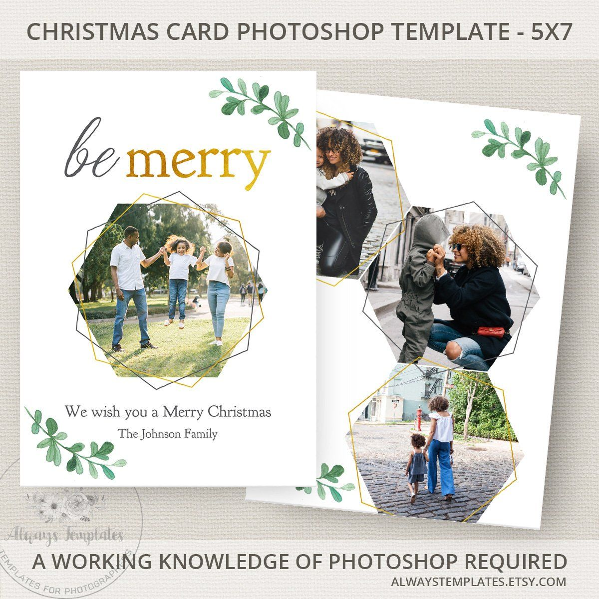Photo Christmas Card Template Photoshop Holiday PSD 5x7 By AlwaysTemplates