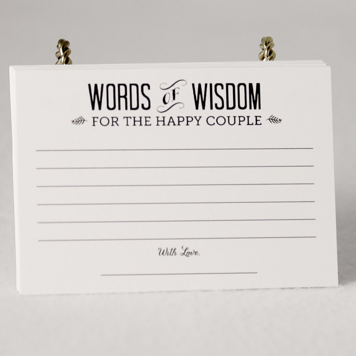 Simple Rustic Country Words of Wisdom Wedding Advice Cards