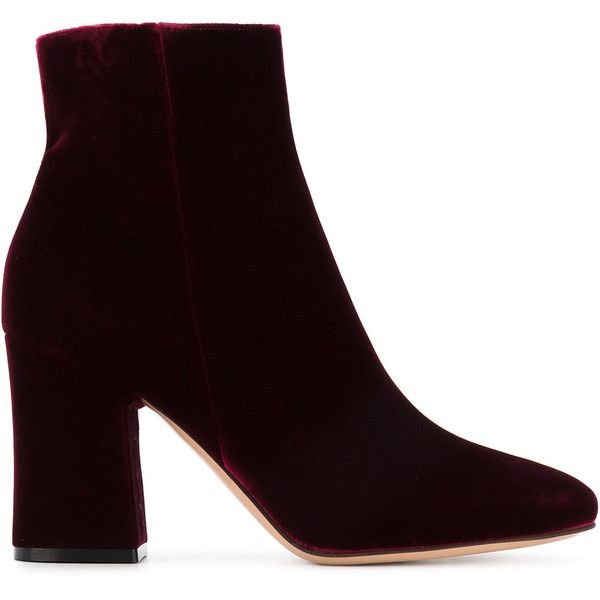 Burgundy Velvet Rolling 90 ankle boots - Red Gianvito Rossi YDCbEQ