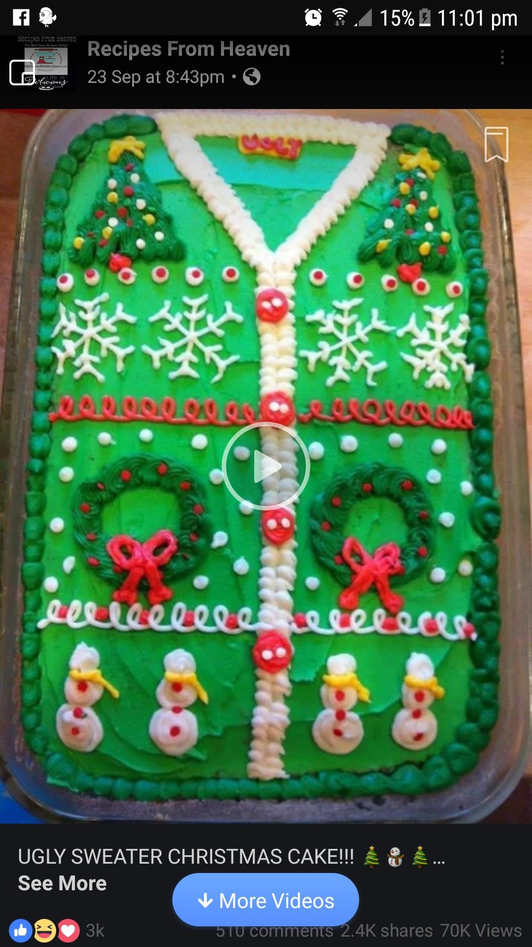 Ugly Christmas Sweater  Easy Decoration For A Tray Bake