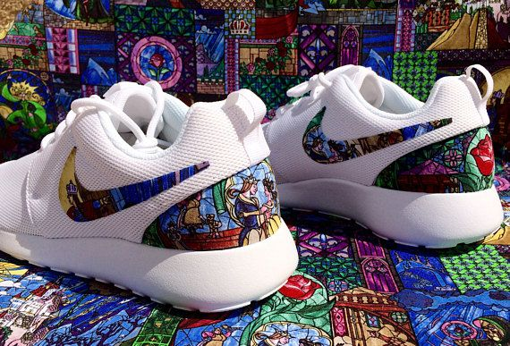 quality design 33368 b619e Beauty and the Beast Stained Glass custom Nike Roshe