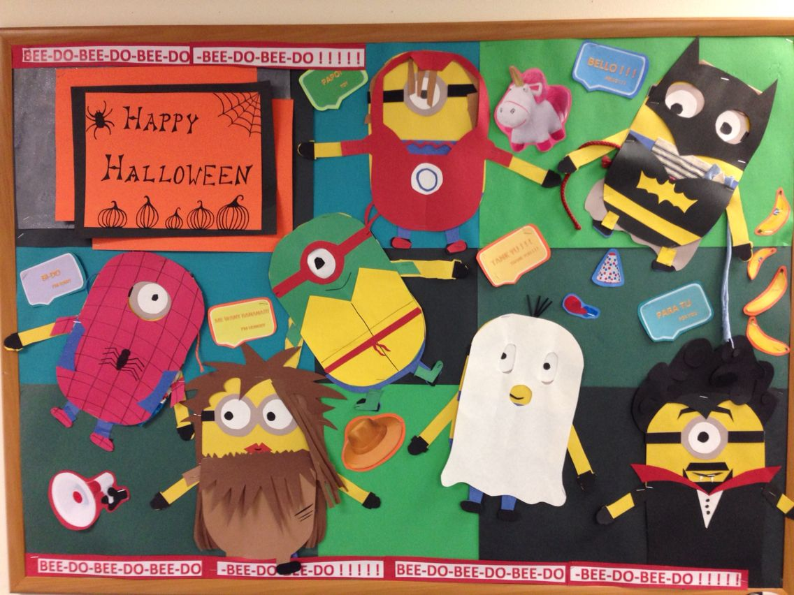 classroom projects minion halloween costume bulletin board fall time iron man spider man batman ninja turtle ghost - Halloween Crafts For The Classroom