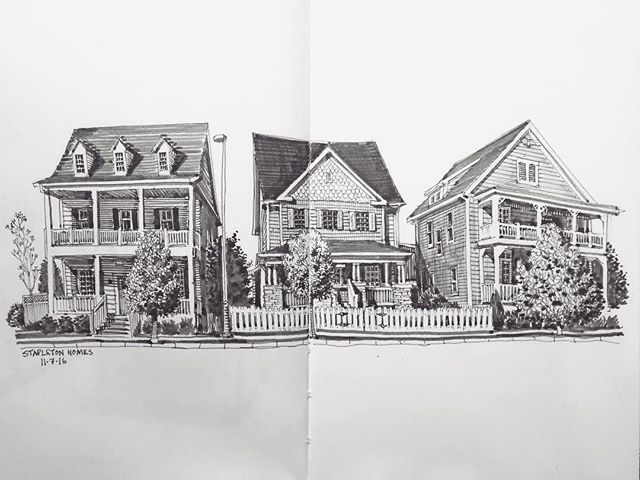 Paul Heaston: Three houses (much nicer than mine) in Stapleton neighborhood, Denver. #artistsofinstagram #denverartists #fountainpen #penandink #inkvember #sketchbook #sketch #art #drawing #urbansketchers #urbansketchersdenver #architecture