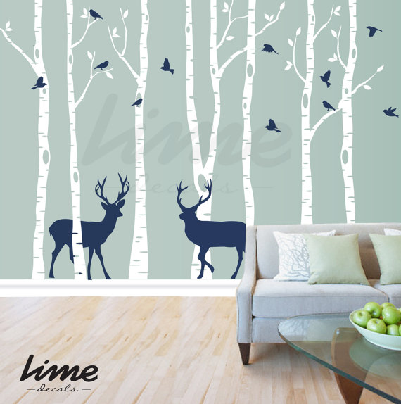 Birch Tree Wall Decal Forest Deer Trees Vinyl Kids Sticker Removable