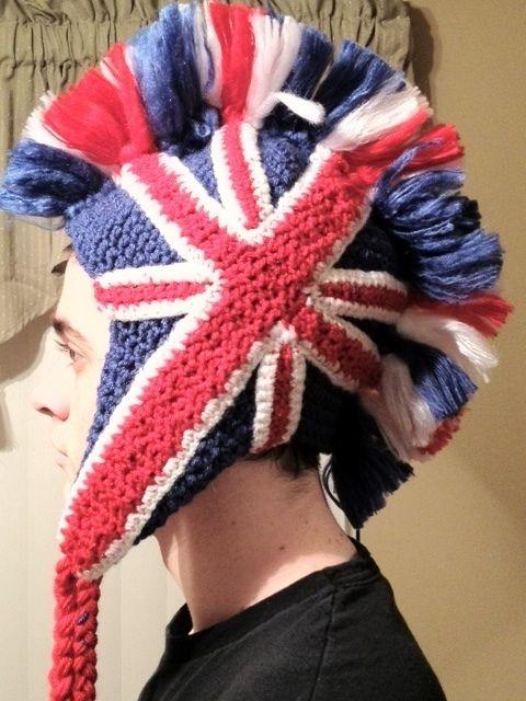 e5db3de2e Union Jack Hat | crochet | Union jack, British hats, Crochet mohawk