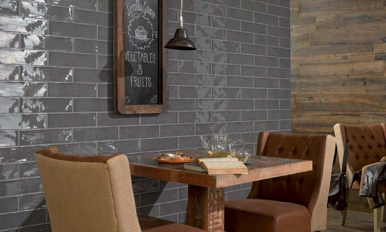 Room Peronda Poitiers Grey Glossy Subway Tile Tiled Dining Accent Wall