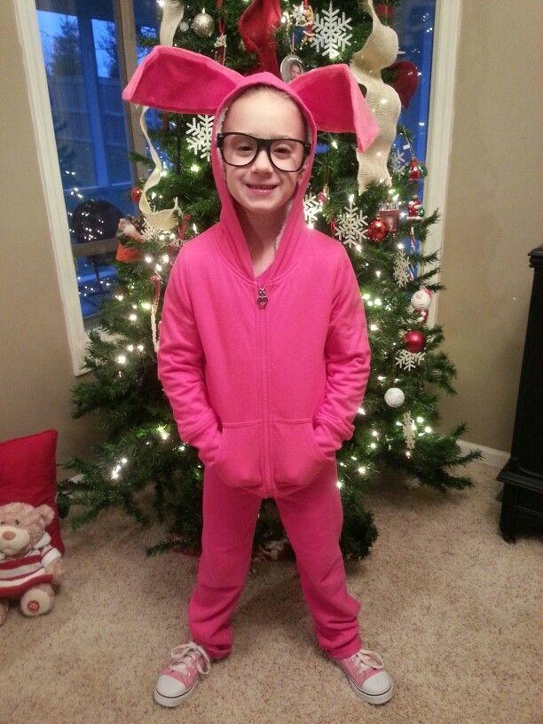 christmas story bunny costume i made for my daughter just using pink sweat pants hooded sweat shirt and the ears are made with felt and pipe cleaners - When Was Christmas Story Made
