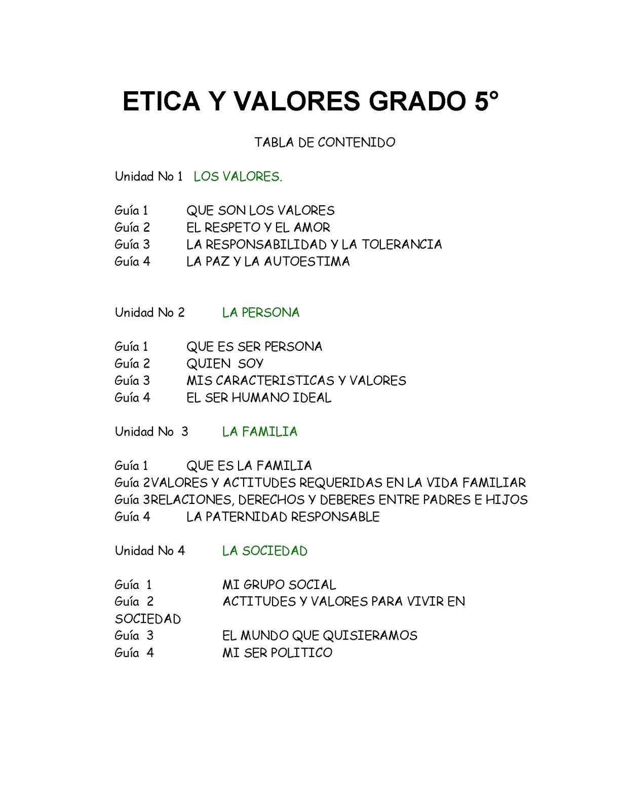 Cartilla Etica Y Valores 5º Etica Y Valores Tabla De Contenido Etico