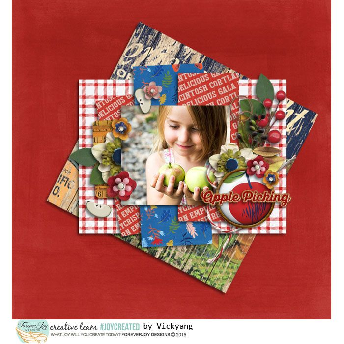 McIntosh Digital Scrapbooking Page Kit by ForeverJoy   full of bright crisp apples, warm wood and a vintage feel perfect for Fall Scrapbooking layouts!