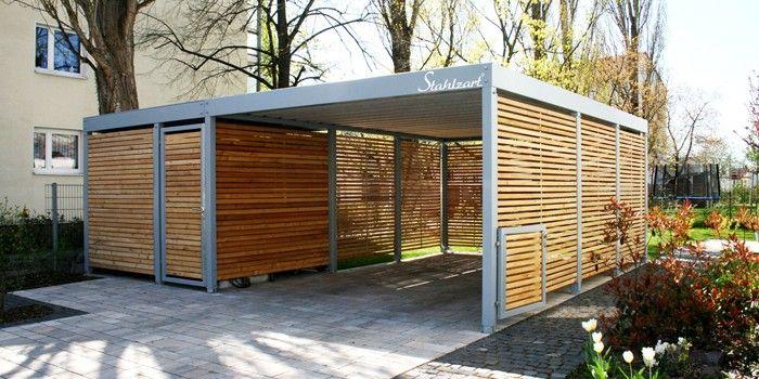 Doppelcarport Metall Holz Stahl Abstellraum Modern Anthrazit Stahlzart In 2020 Carport Metall Doppelcarport Carport Stahl