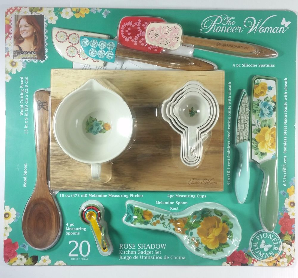 Pioneer Woman Dazzling Dahlias 9-Pc Measuring Set Pitcher Scoops Spoons Floral
