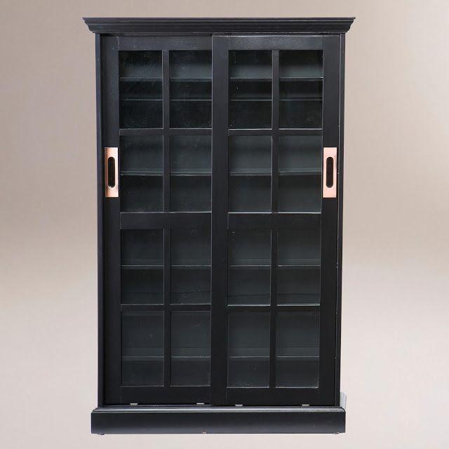 Pottery Barn Garrett Glass Cabinet Sliding Door Bookcase Glass