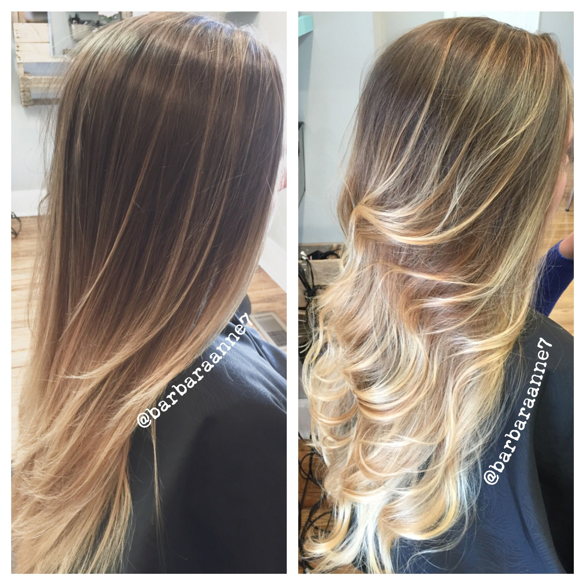 Balayage Ombre Straight Curled Long Hair Blonde Hair Hilights Sun Kissed Kenra B Balayage Straight Hair Balayage Hair Blonde Long Straight Hairstyles