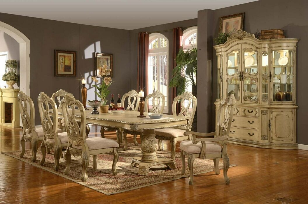 Furniture Design Dining Room Table Sets White Wash Finish 7 Pc Charissa II Collection Antique Wood Double Pedestal