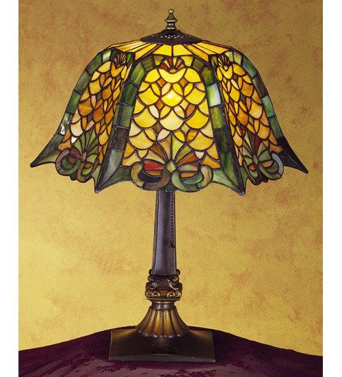 This Beautiful Stained Glass Tiffany Style Shade With Beautifully Executed Jade Glass Pattern