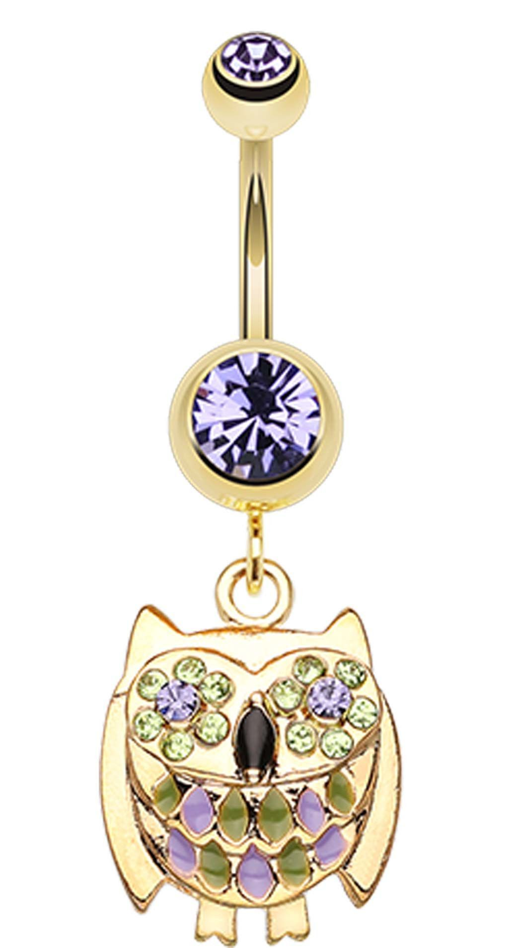 Rose gold belly piercing  Golden Colored Baby Owl Sparkle Belly Button Ring  Golden color