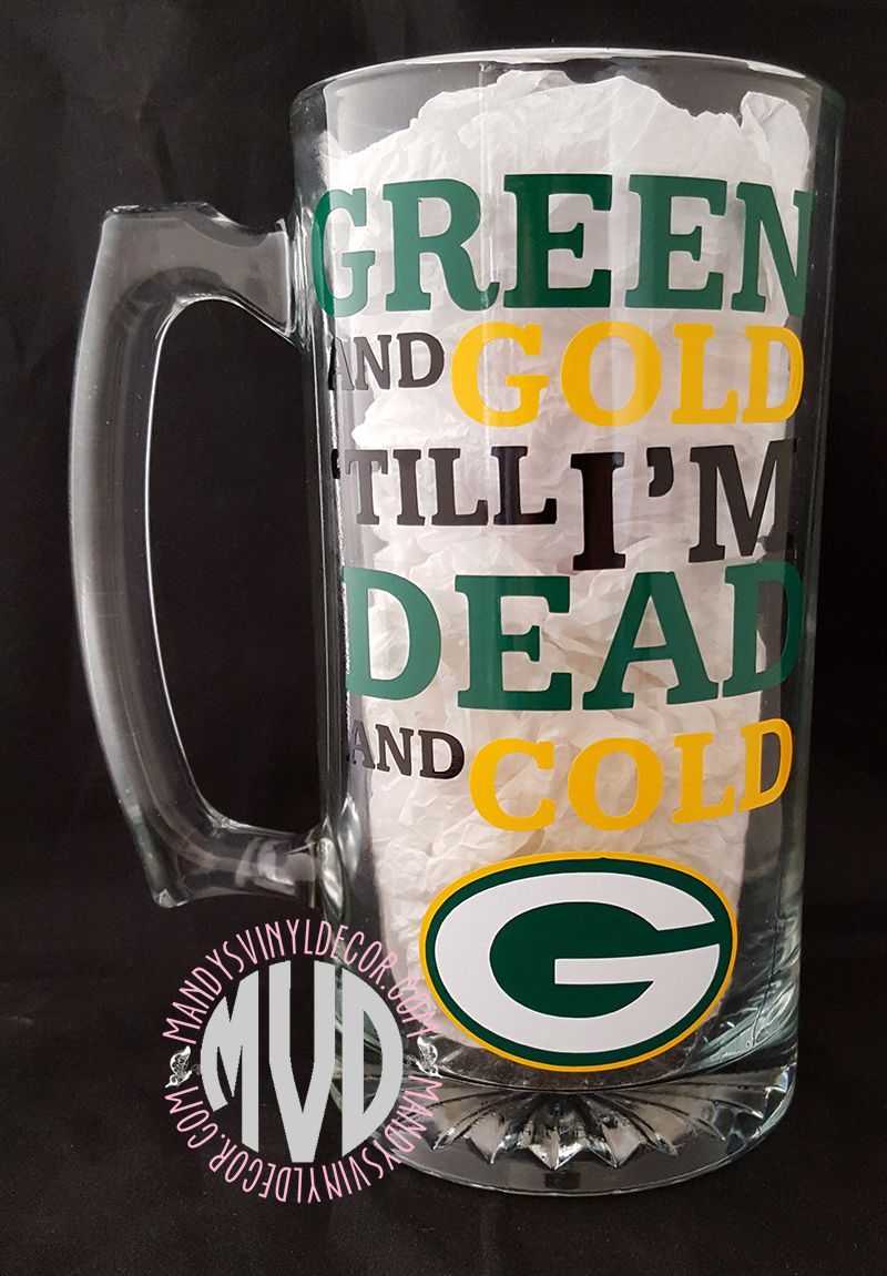 Green Bay Packers Beer Mug Mandy S Vinyl Decor Football Crafts Packers Red Robins Mugs Beer Mugs Beer