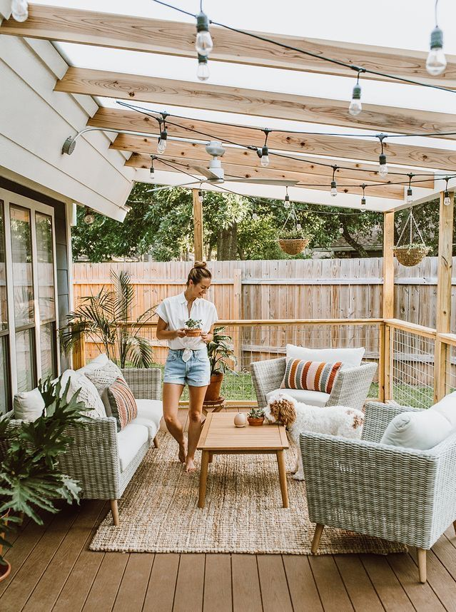 Back Deck If Use Entirely Transparent Roof Material Outdoor Rugs Patio Patio Design Backyard Patio Designs