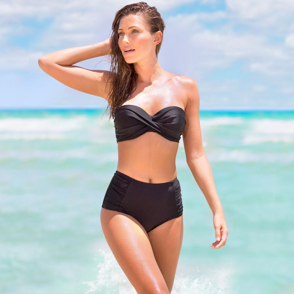 6e00582fb8 High-waisted Shaping Bikini Bottom With Side Ruching Size L In Black By  Smart And Sexy