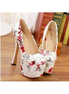 Gorgeous Flower Print Chunky Heel Platform Shoes