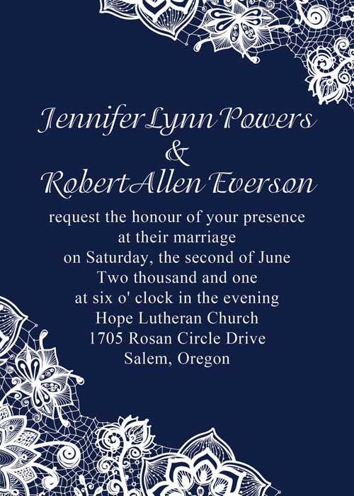Navy Blue Lace Wedding Invites
