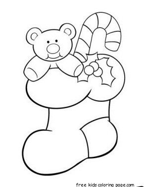 Christmas Stocking With Teddy Bear And Candy Canes Coloring Pages Candy Cane Coloring Page Christmas Coloring Pages Christmas Coloring Books