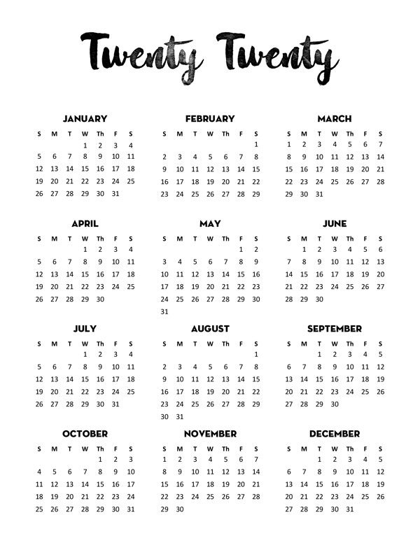 Free 2020 Calendar Printable One Page Lovely Planner Calendar Printables Free Calendar Bullet Journal Year At A Glance
