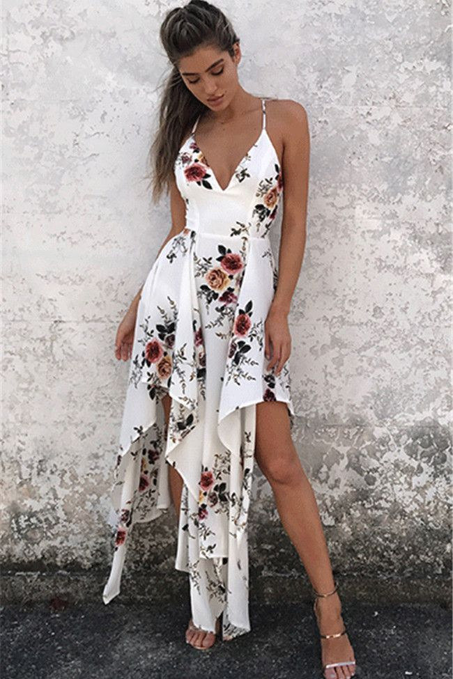 Floral Print Spaghetti Straps Irregular High Waist Bohemian Dress 10