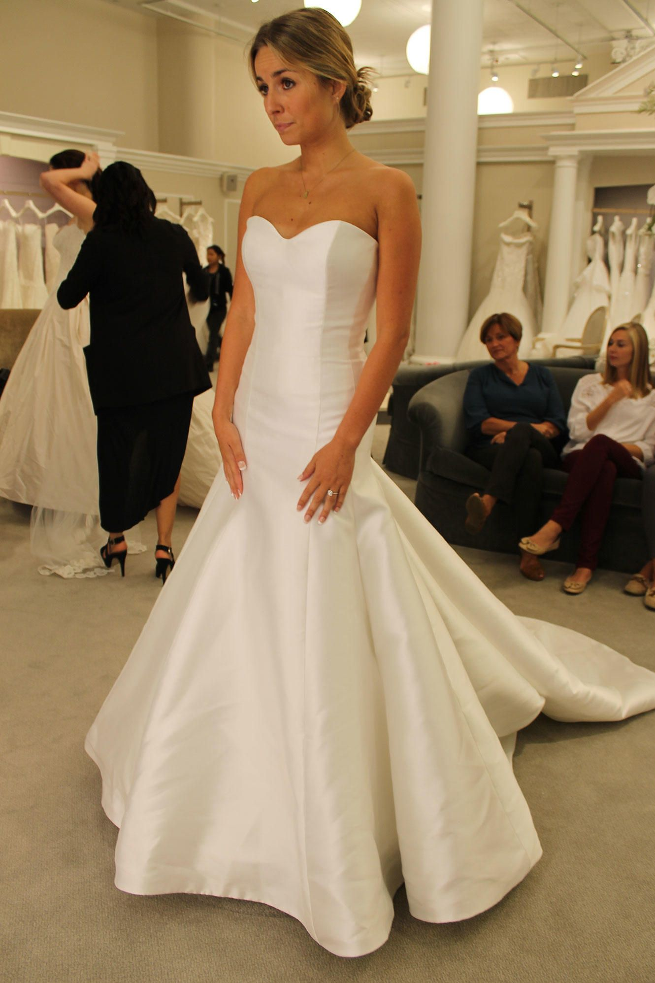 Seaosn 14 featured dress augusta jones satin trumpet for How to clean your own wedding dress
