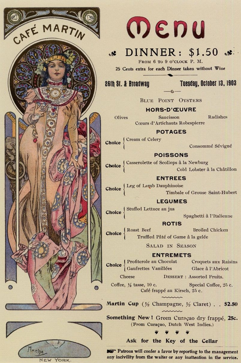 Old Cafe Menu from 1903, Much Art