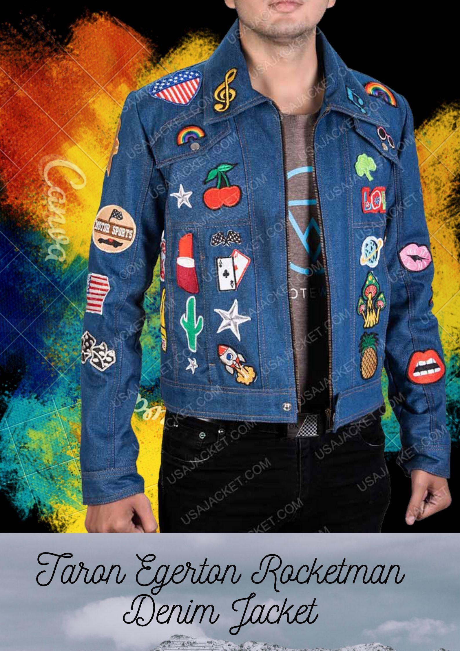 Rocketman Elton John Denim Jacket With Patches Denim Jacket Denim Jacket Patches Denim [ 2246 x 1588 Pixel ]