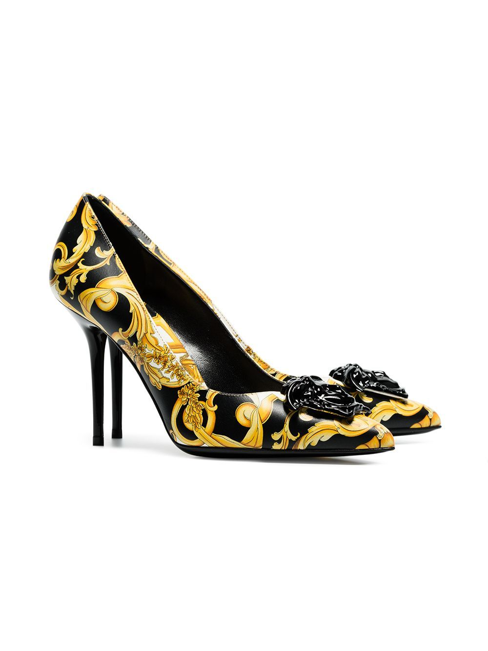 20a38bfd6b Versace black, yellow and white barocco 95 leather pumps | shoes in ...