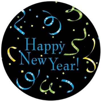 """Custom & Unique {7"""" Inch} 8 Count Multi-Pack Set of Medium Size Round Disposable Paper Plates w/ Happy New Year Text Confetti Celebration Party Event """"Black, Blue, Yellow & Green Colored"""""""