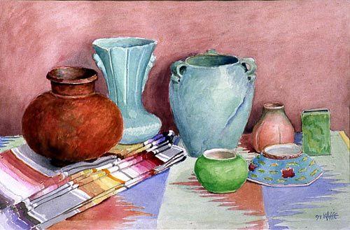 30s Vase And Indian Basket Kaffe Fassett Painter Textile