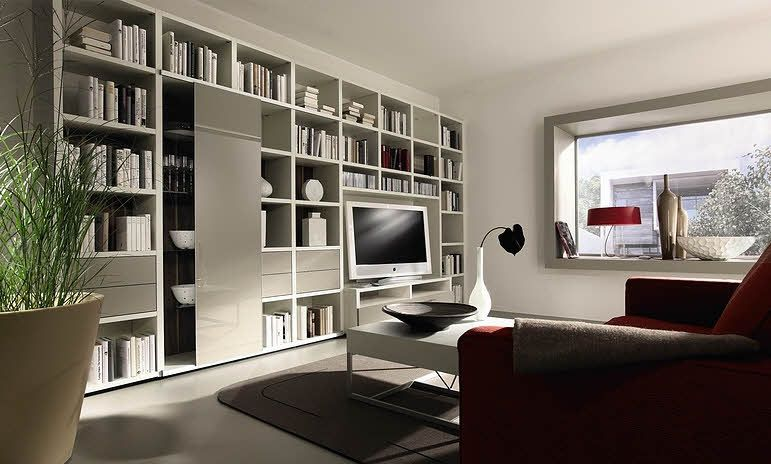 Bookshelves Ideas Living Rooms Part - 23: Living Room With White Bookcase Design Ideas