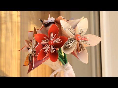 Paper Flower Bouquet Diy Origami Flower Tutorial Youtube Brooch