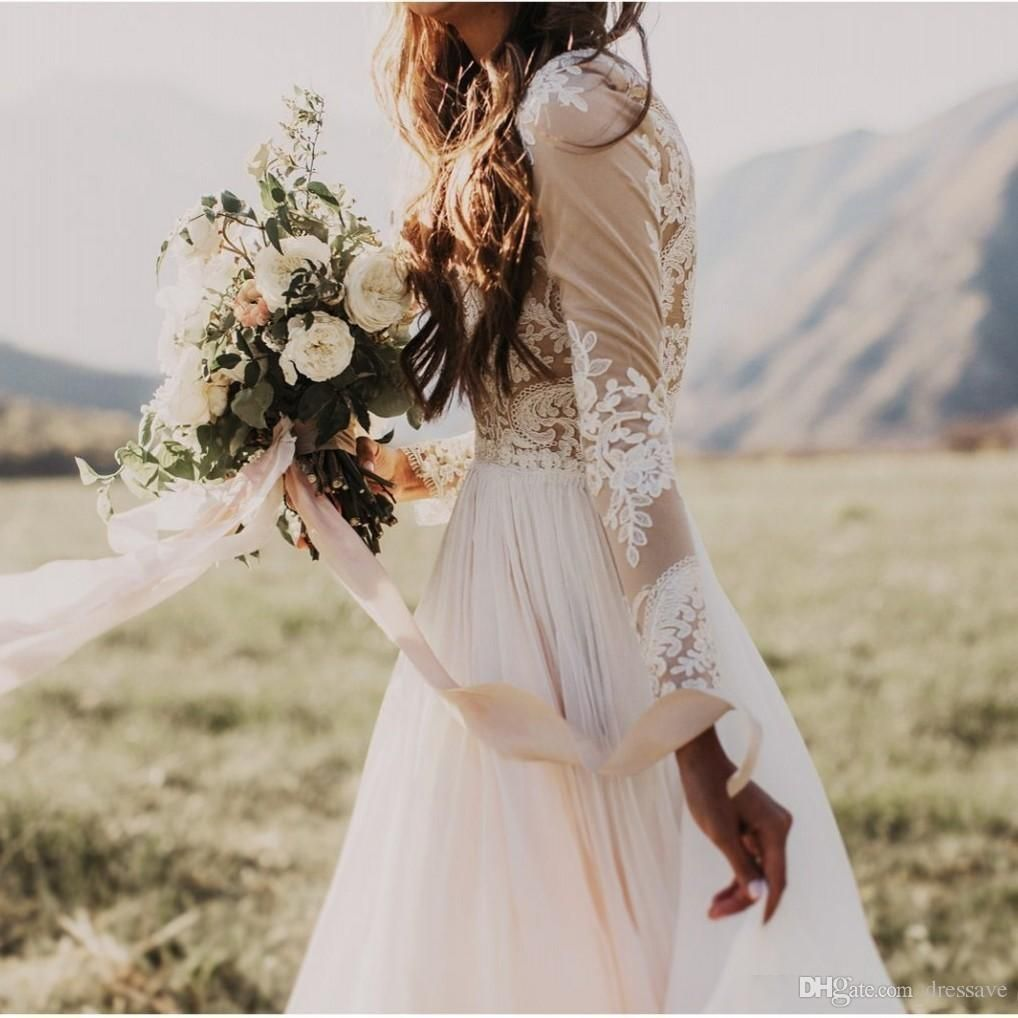 Bohemian country wedding dresses with sheer long sleeves bateau neck