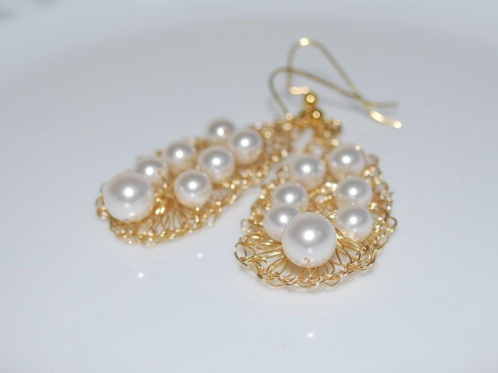 wire Crocheted jewelry | ... Crystal Pearl, Gold Wire Crochet ...