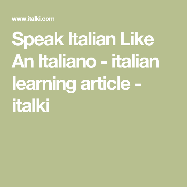 what language do they speak in italy