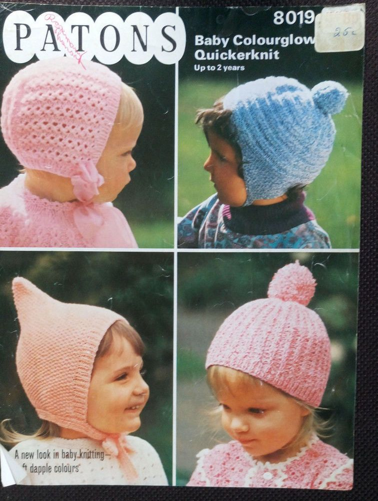 Baby Toddler Hats Patons 8019 Vintage Knitting Pattern 4 Styles