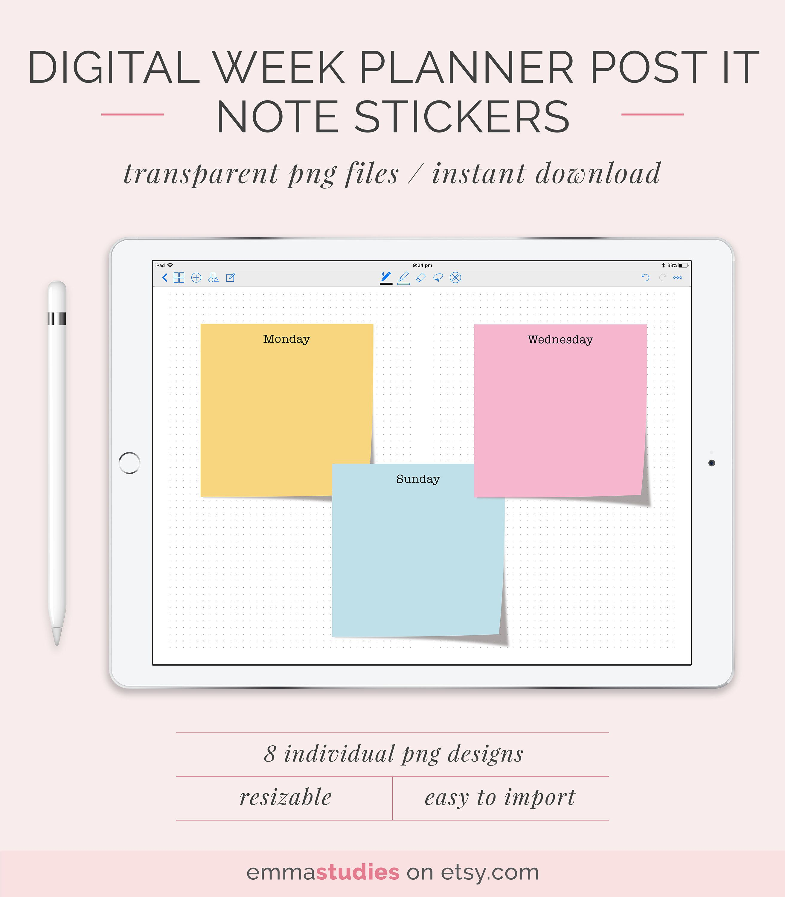 Digital Weekday Note Pastel Sticky Notes Dated Ipad Tablet Goodnotes Notability Week Planner Transparent Instant Download