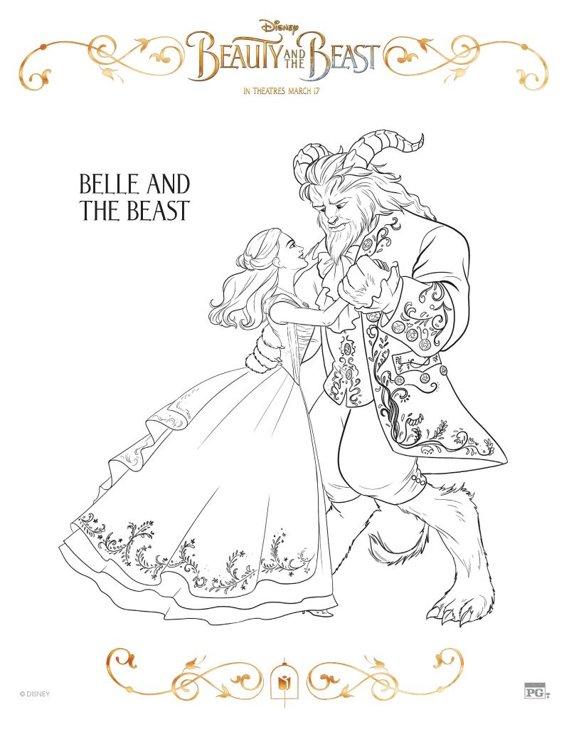 disney belle and the beast coloring page printable coloring